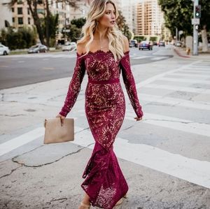 Wine Lace Gown